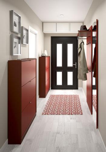 Garderobe Sudbrock PANAMA Spiegel Rahmenkante Schuhschrank Garderobenpaneel Lack rot Flur Diele Überbau