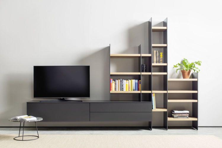 Wohnwand TV-Wand Scala Cubo grau schwarz cosmos Eiche Regalwand Lowboard Sudbrock Bücherregal