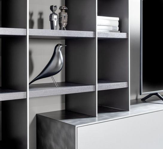 wohnzimmer Lowboard Regalwand Eiche grau Stahl Esszimmer Game SCALA Sudbrock