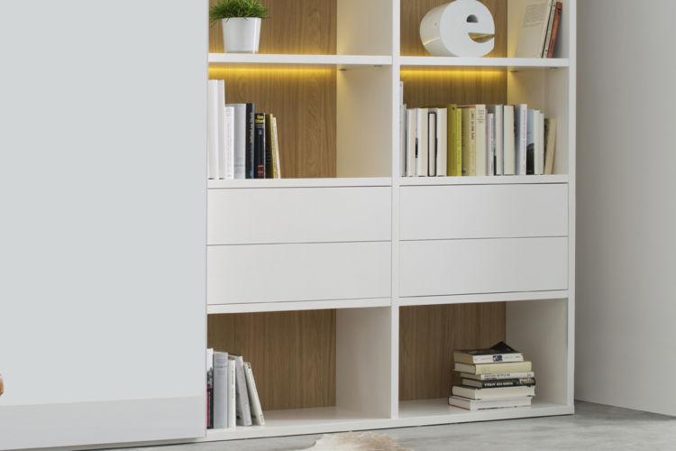 Regalwand Sinus Sudbrock Regal Bibliothek Stauraum Schiebetüren Glasschiebetür weiß Arbeitsplatz Bücherregal TV-Wand