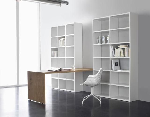 SUDBROCK Home Office Regalwand Stauraum Büro CUBO FOKUS SINUS Bücherregal Schreibtisch Aufsatzschreibtisch weiß Eiche