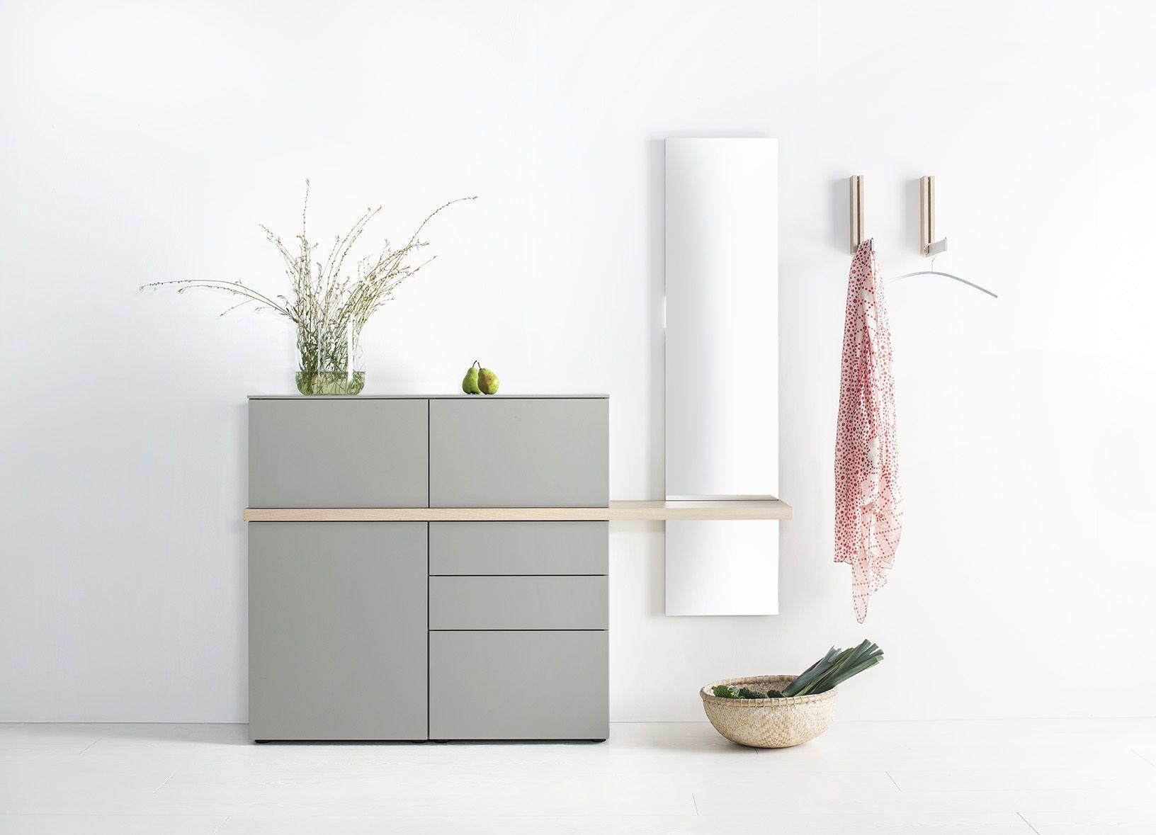 Garderobe Sudbrock TANDO Spiegel Schuhschrank Eiche Lack Flur Diele Board Ablage Designboard Klapphaken