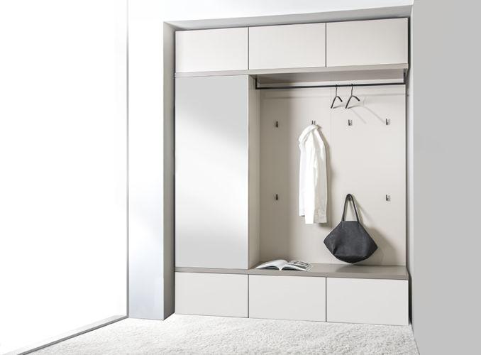 Garderobe Sudbrock TANDO Lack Flur Diele Stauraum Einbau weiß Rahmen kaschmir Spiegeltür Garderobenpaneele