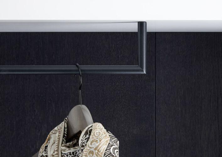 Garderobe Sudbrock TANDO Spiegel Schuhschrank Eiche Lack schwarz Flur Diele Garderobenpaneel Ablage Taschenhaken