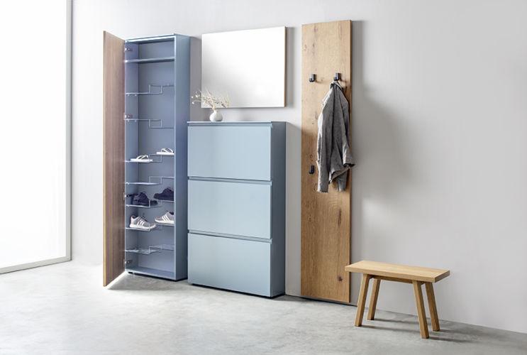 Garderobe Sudbrock TANDO Spiegel Schuhschrank Eiche Lack blau Flur Diele Garderobenpaneel Ablage Sekretär Hocker Schemel