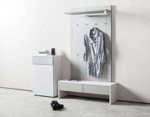 Garderobe Sudbrock TANDO Spiegel Schuhschrank Eiche Lack schwarz Flur Diele Garderobenpaneel Sitzbank Bank