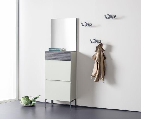 Garderobe Sudbrock TANDO Spiegel Schuhschrank Eiche Lack Flur Diele Skulpturhaken Rille Rillenoptik geriffelte Front