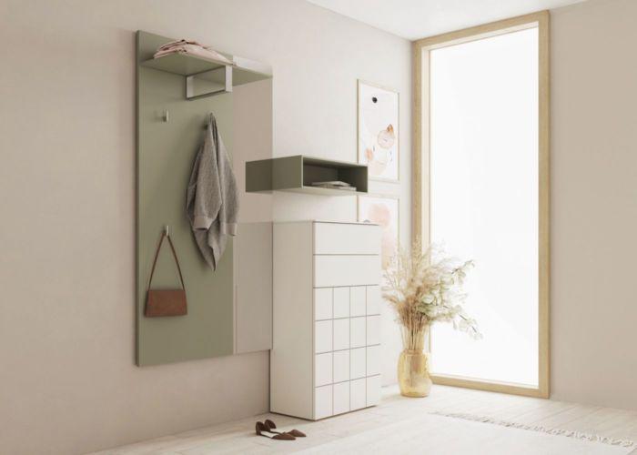 Sudbrock Garderobe Kurzprogramm grün weiß Kommode Paneel Hutablage Diele Melamin Regal Spiegel