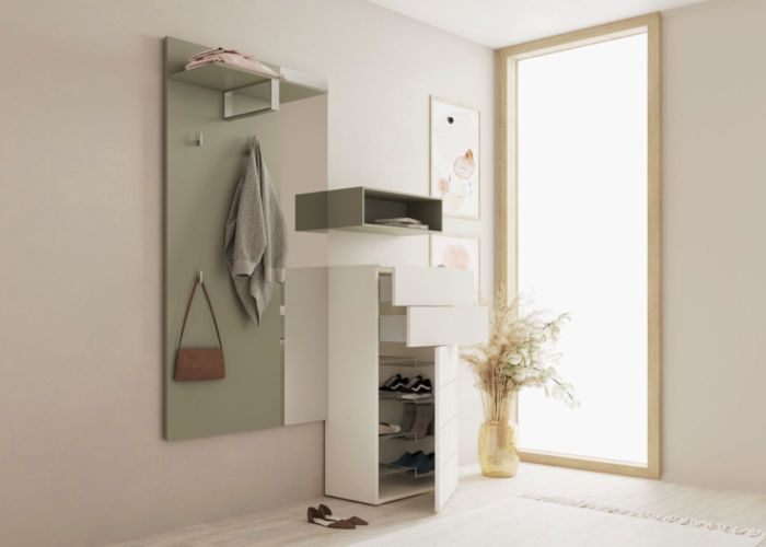 Sudbrock Garderobe Kurzprogramm Tao grün weiß Kommode Hutablage Diele Melamin Regal Spiegel Z-Boden