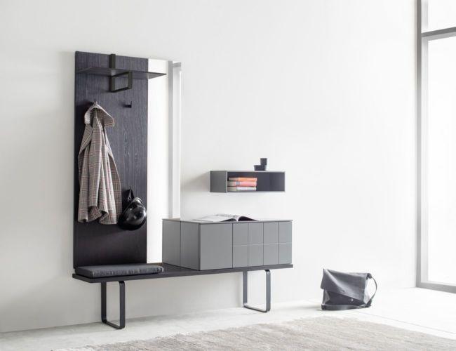 Sudbrock Garderobe Kurzprogramm Tao grau Eiche Kommode Hutablage Diele Melamin Bank Spiegel Paneel Regal