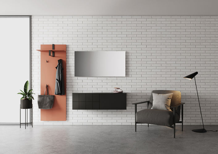 Sudbrock Garderobe Kurzprogramm Tao schwarz rot rosa Kommode Hutablage Diele Melamin Paneel Spiegel
