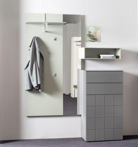 Sudbrock Garderobe Kurzprogramm Tao grün grau Kommode Hutablage Diele Melamin Regal Spiegel Z-Boden