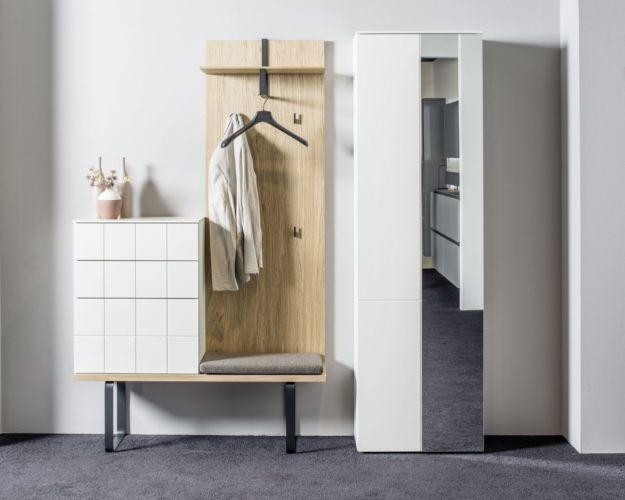Sudbrock Garderobe Kurzprogramm Tao weiß Eiche Kommode Hutablage Diele Melamin Spiegelschrank Z-Boden Bank Spiegeltür Paneel