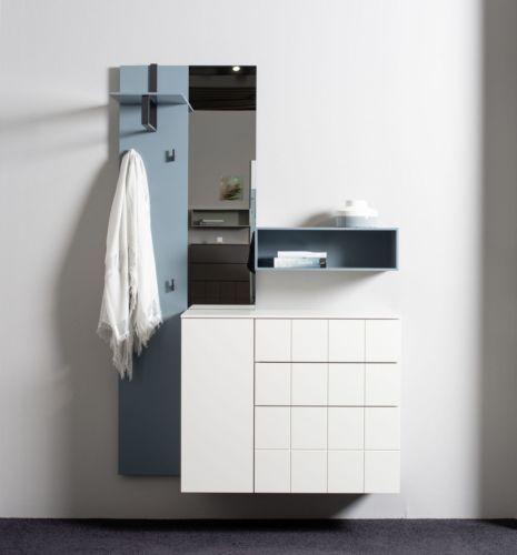 Sudbrock Garderobe Kurzprogramm Tao weiß blau Kommode Hutablage Diele Melamin Paneel Regal Spiegel