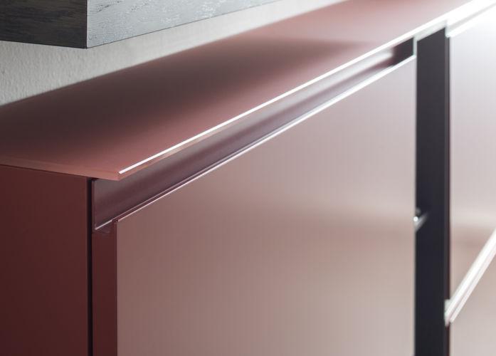 Garderobe Sudbrock TANDO Spiegel Schuhschrank Lack braun rot Flur Diele Griffnut Metall Glasabdeckblatt Glas