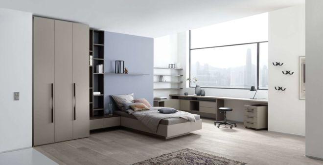 Schlafzimmer schlafen Bett Kleiderschrank Apartment Schreibtisch Milieu Schrank