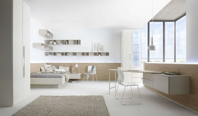 Schlafzimmer schlafen Bett Kleiderschrank Apartment Schreibtisch Milieu Schrank Wandboarde Hängeboarde Hängeregale
