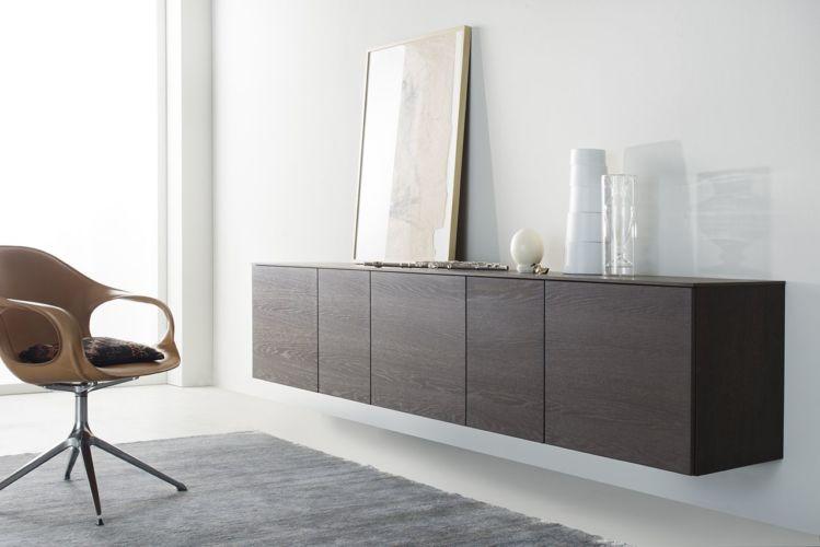 Sideboard Wohnzimmer Esszimmer Schlafzimmer hängend braun Eiche Kommode Hängeregal Hängekommode Holz