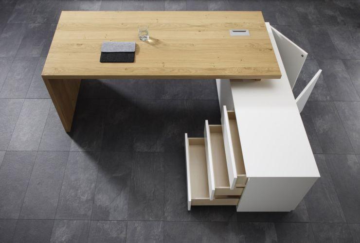 SUDBROCK Home Office Stauraum Büro CUBO Schreibtisch Aufsatzschreibtisch weiß Eiche Eckschreibtisch