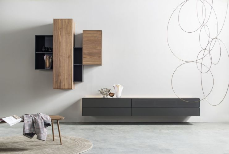 Wohnwand Medienmöbel Soundmöbel grau schwarz TV-Wand Nussbaum hängend Hängeregale