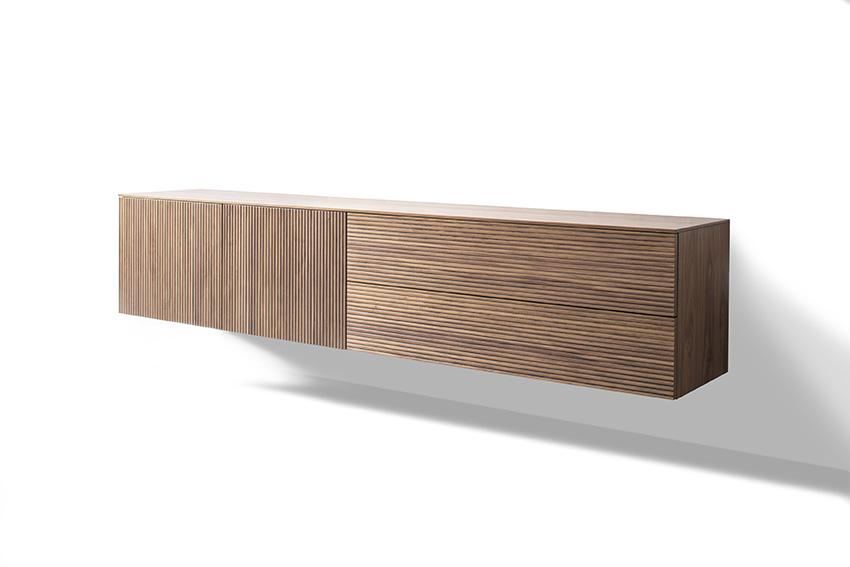 Sideboard Lowboard Nussbaum natur Furnier Rillenoptik Rillen waagerecht senkrecht wandhängend Holzoptik