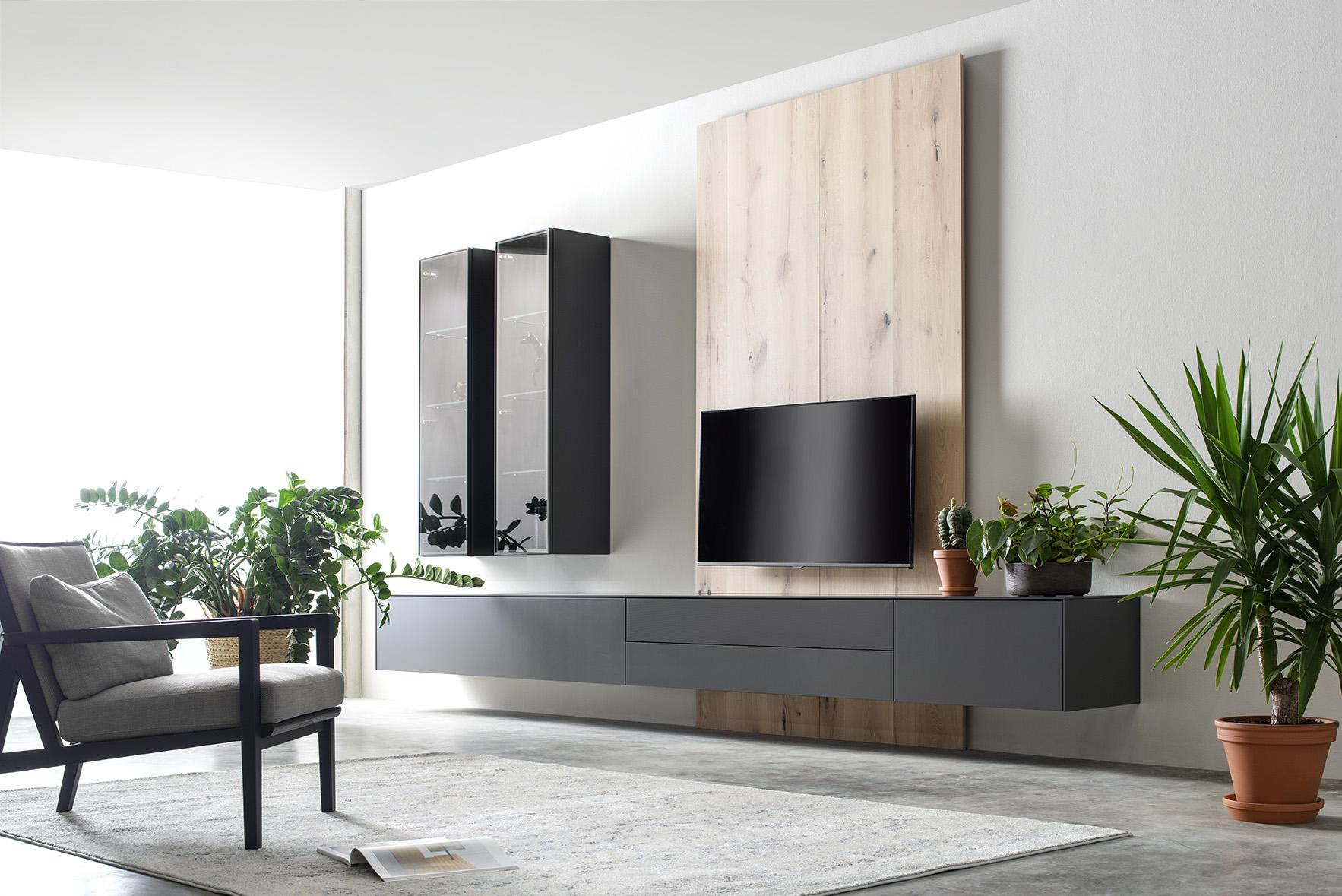 Wohnwand Medienmöbel Soundmöbel Wandpaneele grau TV-Wand Eiche Vitrinen hängend Sudbrock