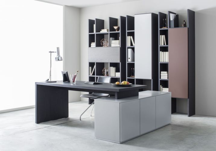 FOKUS Sudbrock Regale grau schwarz Regalwand Bücherregal Home Office Stauraum