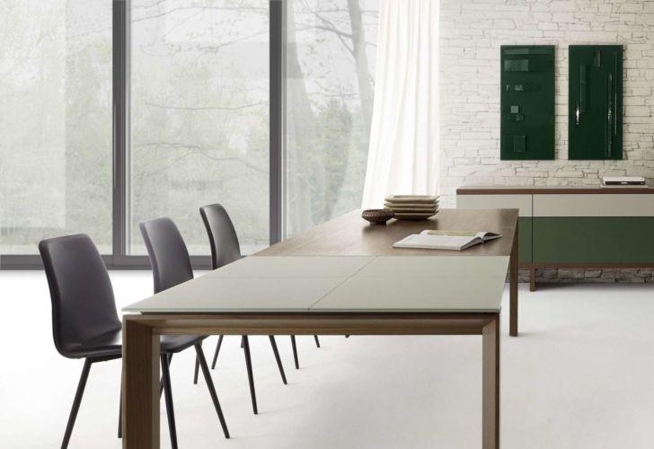 Sudbrock Pondus Esstisch Tisch Esszimmer Nussbaum Glastisch Essen ausziehbar Tischplatte Glas Massiv Massivholz